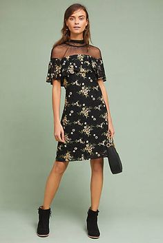 Illusion Embroidered Lace Shift Dress