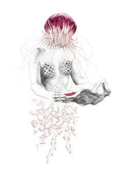 Na série de ilustrações Metamorfish, de Elisa Ancori, mulheres e criaturas marinhas se fundem em um belo encontro de poesia e fantasia.