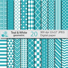 Teal and White Geometric Digital Paper Set, Geometric Digital papers, Teal White Scrapbooking papers, Instant Digital Download by VRDigitalDesign on Etsy