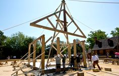 New pictures and video on the Tuesday raising of Colonial Williamsburg's Market House: http://bit.ly/1KGEshO -- Mark St. John Erickson
