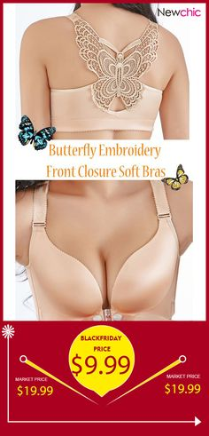 ae999caccd  US 9.99 Butterfly Embroidery Front Closure Wireless Adjustable Gather Soft  Bras  butterflybra
