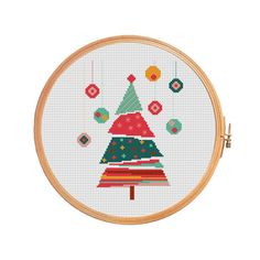 Christmas tree - christmas cross stitch pattern modern cross stitch pattern.  Floss: DMC Canvas: Aida 14 Grid Size: 78W x 100H Design Area: