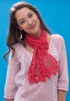 This charming scarf is a perfect lightweight layering piece for Spring and Summer. Shown in Patons Grace.