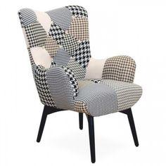 Modern szürke patchwork mintás fotel, fekete lábbal - SCOTTISH