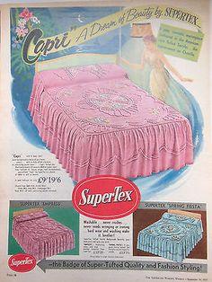 original vintage Australian advertising 1955 Supertex bedspread ad retro print Retro Ads, Vintage Advertisements, Vintage Ads, Vintage Posters, Vintage Items, Vintage Bedrooms, Vintage Bedding, Vintage Sheets, Grey Wallpaper Iphone