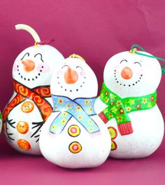 Gourd Snowman ornament or sitting statue Hand by Gourdament