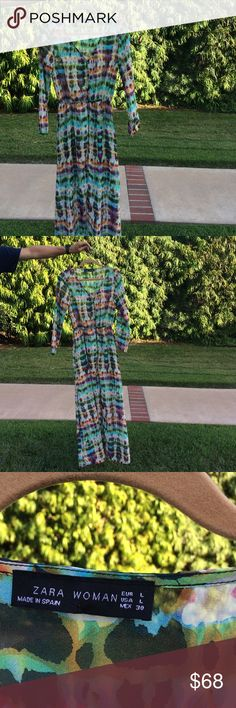 Zara maxi dress Gorgeous multi print tunic maxi dress.orange/ turquoise/pink/ green and black  with long sleeves and small black buttons. A fabulous look over leggings / shorts or bathing suit! Zara Dresses Maxi