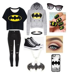 """Batman"" by jessicaortiz2026 on Polyvore featuring River Island, Converse, Casetify and Chanel"
