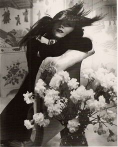 Marlene Dietrich wallpaper with a corsage, a begonia, and a rosebush in The Marlene Dietrich Club
