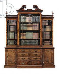 Gertz The Messer Chippendale Secretaire Library Bookcase 99 In.