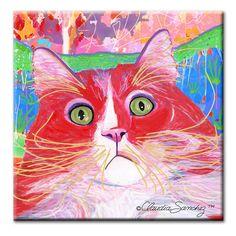 """Dory Red Devil Hot Shot 6 x 6"""" Decorative Ceramic Cat Art Tile by Claudia Sanchez"""