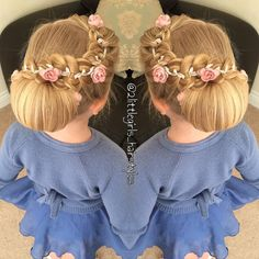 "1,485 curtidas, 34 comentários - Two Little Girls (@2littlegirls_hairstyles) no Instagram: ""My little ones beautiful hair yesterday, check out my last posts for the video  chignon from…"""