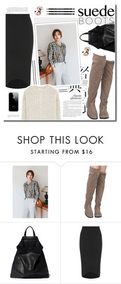 """""""Suede Boots"""" by erino9519 ❤ liked on Polyvore featuring Daily Monday, TSATSAS, Boohoo and MANGO"""