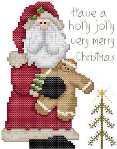 Have a holly jolly very merry Christmas Santa Cross Stitch Pattern by Jennifer Creasey