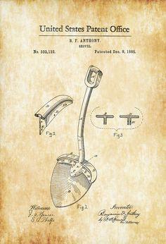 Shovel Patent 1885 - Patent Print Wall Decor Gardening Yard Work Vintage Tool Yard Tools by PatentsAsPrints