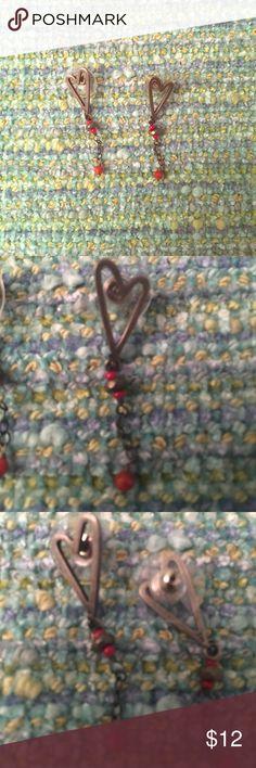 Heart shaped metal drop earrings ❤️ Heart shaped metal drop earrings.  These are handmade and include sturdy post backing. Jewelry Earrings