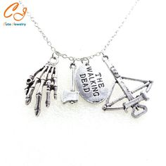 The Walking Dead Inspiré Daryl Crossbow Zombie Charme Collier Geek Ton Argent