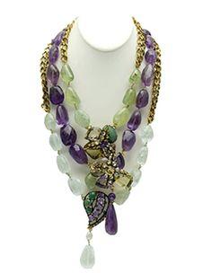 Iradj Moini Amethyst, Aquamarine, Emerald & Citrine Necklace