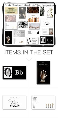 """Basic Business Cards: Interpreters"" by audreyterp ❤ liked on Polyvore featuring art, sign, ASL and Interpreters"