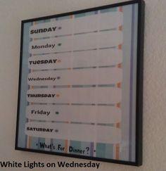 White Lights on Wednesday: Mildly Crafty Monday: Menu Planner Redux