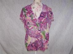 VIOLET & CLAIRE Shirt Blouse L Watercolor Floral Ruffled Button Front Crinkle #VioletClaire #ButtonDownShirt #Casual