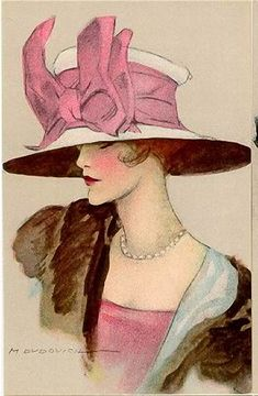 Marcello Dudovich 1920s fashion illustration, vintage hat with large pink bow