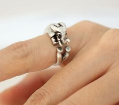 Adjustable Elephant Animal Rings/ BIg Horn Elephant by ModsTheMost