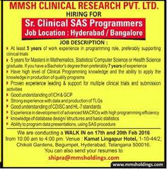 mmsh clinical research pvt ltd  GSK hiring sas programmers -walk-in | SAS jobs | Pinterest | Sas jobs