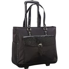 Heritage Ladies Nylon Twill Croco PVC Single Gusset Wheeled Computer Case >>> You can get more details at