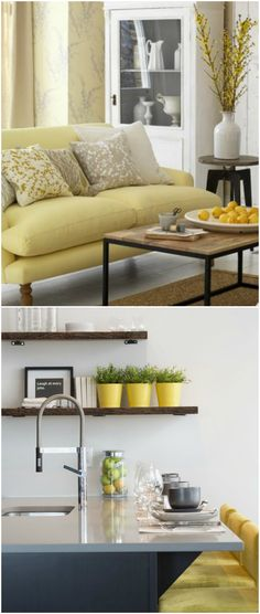 'Yellow is often associated with happiness, and this energising and vibrant tone is fantastic for living areas and kitchens. It is an extremely warm and welcoming shade and so also works well in the hallways, lifting the mood as soon as you enter the home. If used exclusively however, this shade can be overwhelming and it can have the opposite effect. To get the most out of yellow, use it sparingly as an accent shade against crisp white' - Furniture Village. (Photo: Tim Young / Getty)