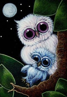 Art: TINY LIGHT PINK OWL WITH BLUE OWL DOLL by Artist Cyra R. Cancel