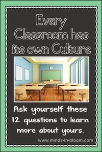 Every classroom has a culture. Some pieces may be intentional on your part, others, not so much. Use these 12 questions to learn more about yours.