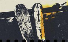 Herunterladen hintergrundbild grunge, skateboards, skull, art