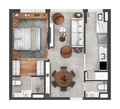 Studio Apartment Floor Plans, Studio Apartment Decorating, Apartment Plans, Layouts Casa, House Layouts, Small House Floor Plans, Model House Plan, Appartement Design, 3d Home