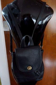 Coach Vintage Black Leather Backpack Purse Handbag Number K4C – 9960 #Coach #BackpackStyle