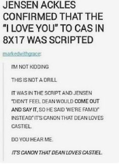 Do you mean to tell me that A. Destiel is canon and B. Jensen Ackles ruined it? Okay I'll let it slide this time. Supernatural Bloopers, Supernatural Tattoo, Supernatural Imagines, Supernatural Wallpaper, Supernatural Destiel, Supernatural Pictures, Castiel, Jensen Ackles, Superwholock