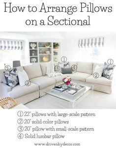 Home Decor White Great post about how to arrange pillows on sofas and sectionals and other great pillow tips!Home Decor White Great post about how to arrange pillows on sofas and sectionals and other great pillow tips! Home Living Room, Apartment Living, Living Room Designs, Living Room Decor, Living Room Pillows, Decorative Couch Pillows, Throw Pillows Couch, Diy Pillows, Cushions On Sofa