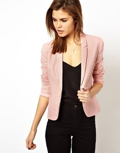 Pastel pink blazer and black outfit. Elegant work outfit. (ASOS Linen Tailored Blazer).