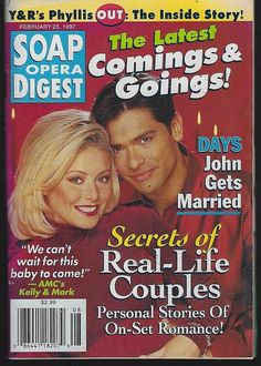 Soap Opera Digest February 1997 Secrets of Real Life Couples, Kelly and Mark on the Cover Kelly Ripa Mark Consuelos, Suzanne Rogers, Miss My Best Friend, 1990s Nostalgia, Family Tv, Soap Stars, Best Soap, Tv Couples, General Hospital