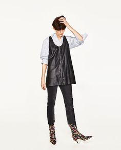 ZARA - WOMAN - FAUX LEATHER PINAFORE DRESS WITH ZIP