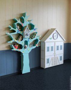 """Купить Детский шкаф-домик с часами """"Linz"""" - белый, мятный, шкафчик-домик, шкаф-домик"""