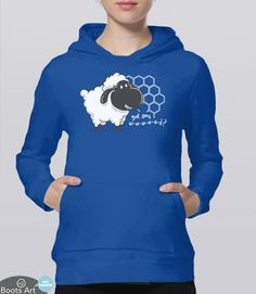 Settlers of Catan Hoodie with cute Kawaii Sheep. Perfect for any board game geek. Unisex Adult Sizes. Available from Boots Tees. (Royal Blue Hoodie)
