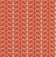 Linear Stem (110399) - Orla Kiely Wallpapers - A pretty small scale design of Orla Kiely's stem. Shown in a white outline on red - more colours are available. Please request a sample for true colour match. Paste-the-wall product. 4.2cm pattern repeat.