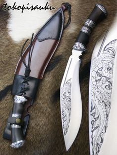 Toko Pisau Ku: Kukri Bhojpuri  Blade Material : Spring Steel, 5160  Handle Material :Iron Wood + Duralium, Sheath Material : Genuine Leather