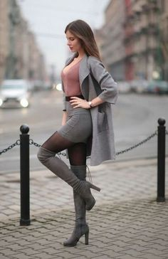 club outfit love the boots - liebe die Stiefel - Club Outfits, Skirt Outfits, Sexy Outfits, Fashion Outfits, Womens Fashion, Boot Outfits, Skirt Fashion, Fasion, Dress Skirt