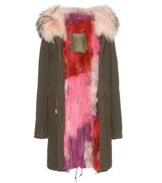 Mr & Mrs Italy - Fur-lined cotton parka with fur-trimmed hood - Urban chic meets timeless luxury in this Mr & Mrs Italy parka. The classic military-green hue and timelessly cool silhouette make the bright red, pink and purple fox fur lining a real statement contrast. As practical as it is polished, it's the perfect outerwear purchase for the new season, working with everything from skinny leather to relaxed-fit denim. seen @ www.mytheresa.com