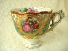 OCCUPIED JAPAN TEACUP #CHUBU CHINA PINK FLORAL VICTORIAN LADY GOLD GILT
