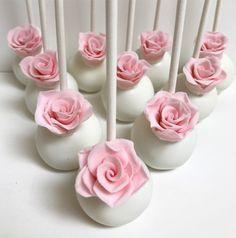 Elegant Pink Roses Flower Cake Pops