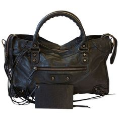 Pre-owned Balenciaga Agneau City Black Tote Bag ($995) ❤ liked on Polyvore featuring bags, handbags, tote bags, black, handbags totes, zippered tote, black studded purse, black purse and black studded tote