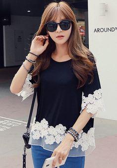 Black Patchwork Lace Grenadine T-Shirt